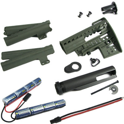 King Arms Carbine Clubfoot Stock with 9.6v 1400 battery OD