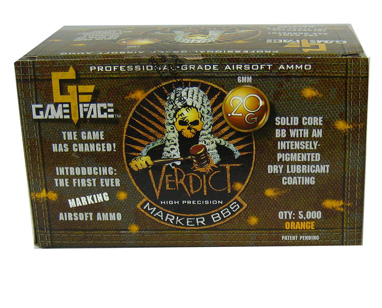 GameFace Verdict 0.20g Orange 5000 ct