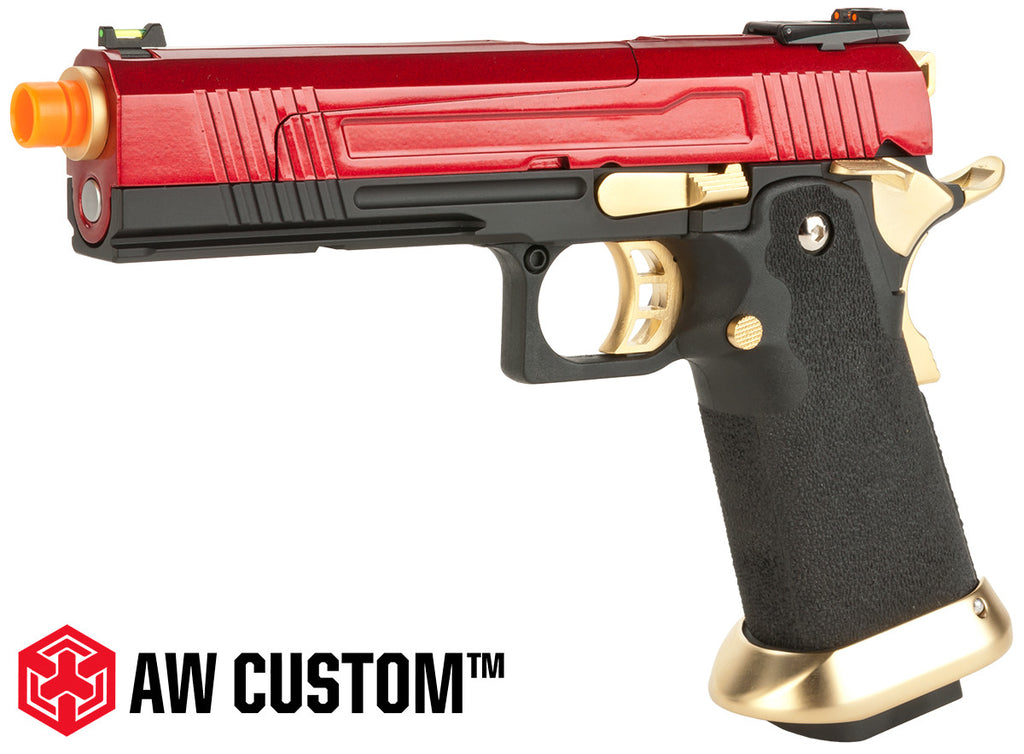 "Armorer Works AW Custom ""Competitor"" Hi-Capa Gas Blowback Airsoft Pistol - Gold/Red"