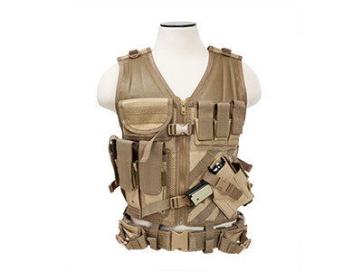 NC Star Cross Draw Tac Vest, Large, TAN