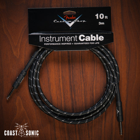 Fender Custom Shop Cable 10' Black Tweed (Straight - Straight)
