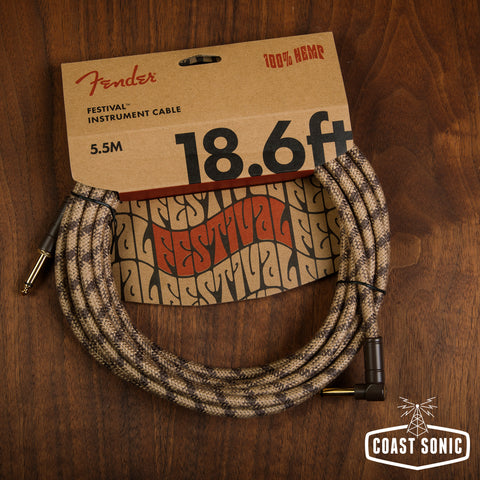 Fender Festival Hemp Instrument Cable Brown Stripe 18.6' Straight/Angle