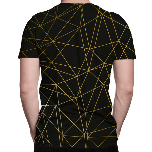Gold Lines all-over print shirt back