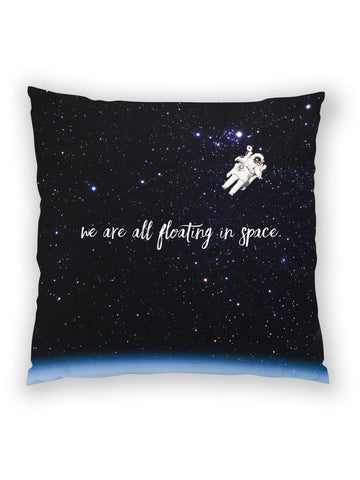We Are All Floating in Space all-over print throw pillow