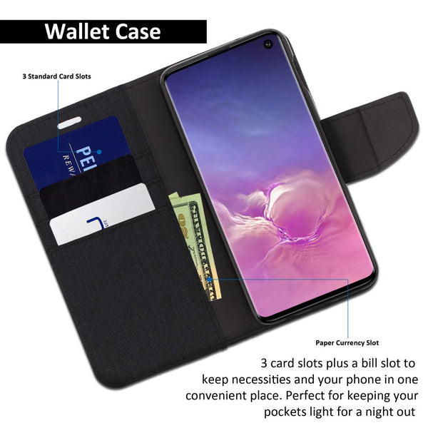 Galaxy S10e Essential Case Pocket Diary Canvas Wallet Cover - ModeBlu