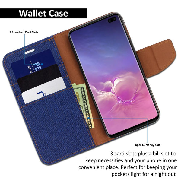 Galaxy S10 Plus Case Pocket Diary Canvas Wallet Cover - ModeBlu