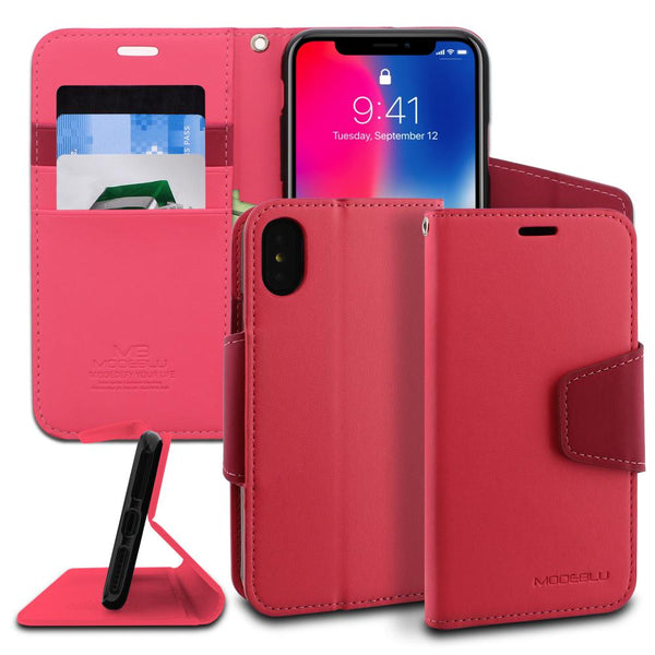 iPhone XS & X Case Classic Diary Wallet Cover - ModeBlu