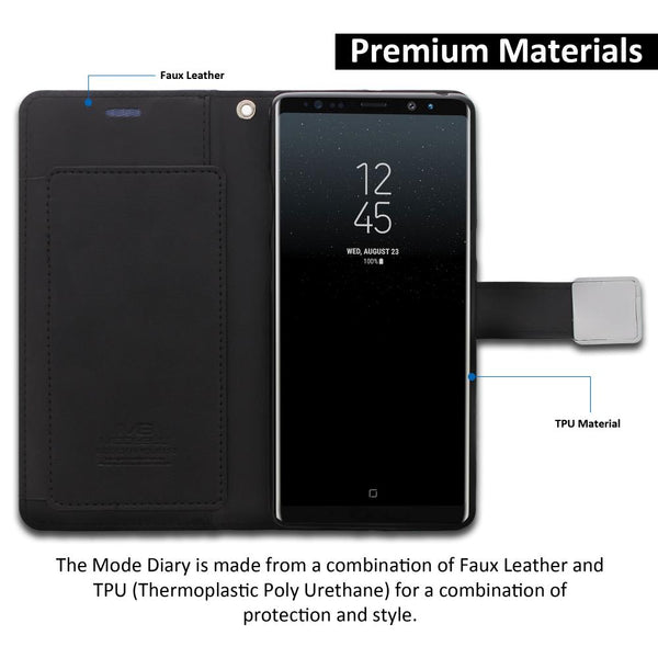 Galaxy Note 8 Case Mode Diary Wallet Cover - ModeBlu