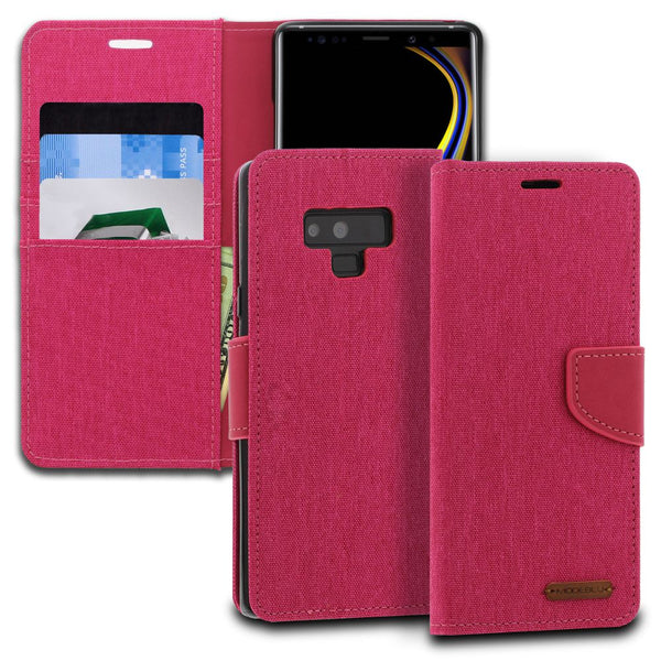 Galaxy Note 9 Case Pocket Diary Canvas Wallet Cover - ModeBlu