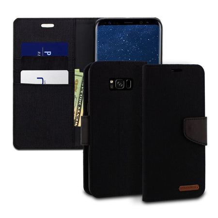 Galaxy S6 Case Pocket Diary Canvas Wallet Cover - ModeBlu