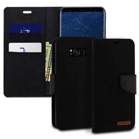 iPhone 6s Plus Case Pocket Diary Canvas Wallet Cover - ModeBlu