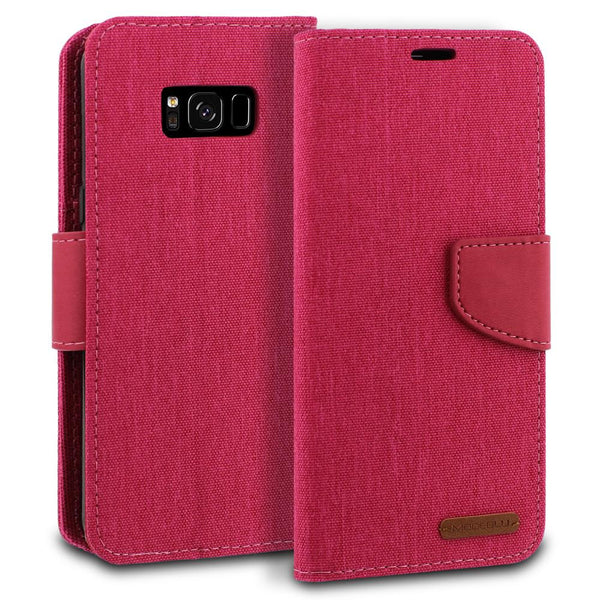 Galaxy S8 Plus Case Pocket Diary Canvas Wallet Cover - ModeBlu