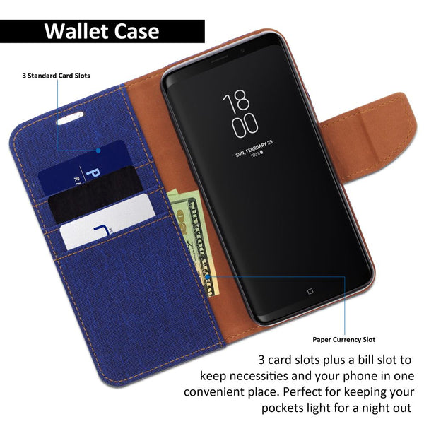 Galaxy S9 Case Pocket Diary Canvas Wallet Cover - ModeBlu