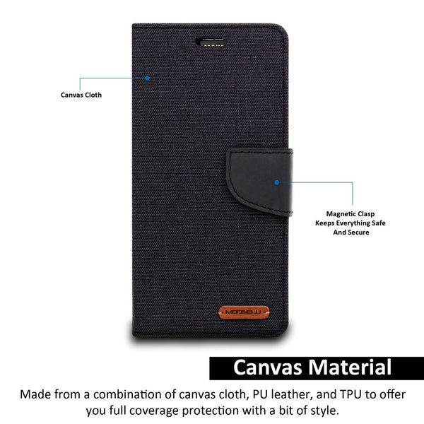 Galaxy S9 Plus Case Pocket Diary Canvas Wallet Cover - ModeBlu