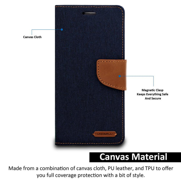 Galaxy Note 8 Case Pocket Diary Canvas Wallet Cover - ModeBlu