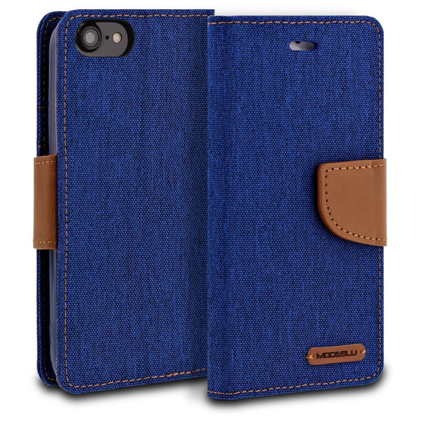 iPhone 8 Case Pocket Diary Canvas Wallet Cover - ModeBlu