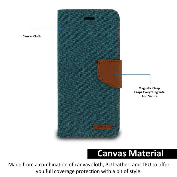 iPhone 7 Case Pocket Diary Canvas Wallet Cover - ModeBlu