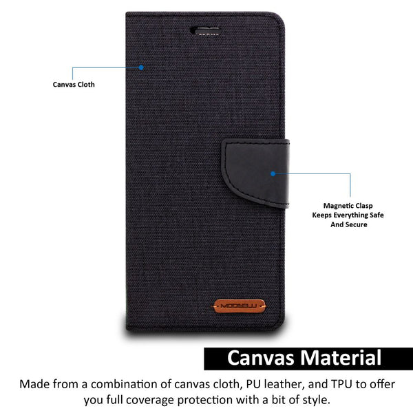 iPhone XS Max Case Pocket Diary Canvas Wallet Cover - ModeBlu
