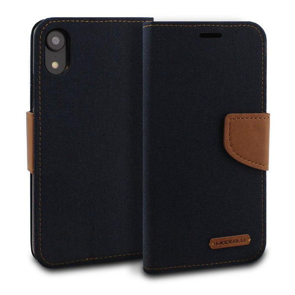 iPhone XR Case Pocket Diary Canvas Wallet Cover - ModeBlu