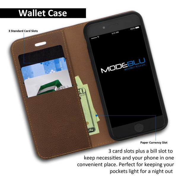 iPhone 8 Case Magnetic Portfolio Series Wallet Cover - ModeBlu