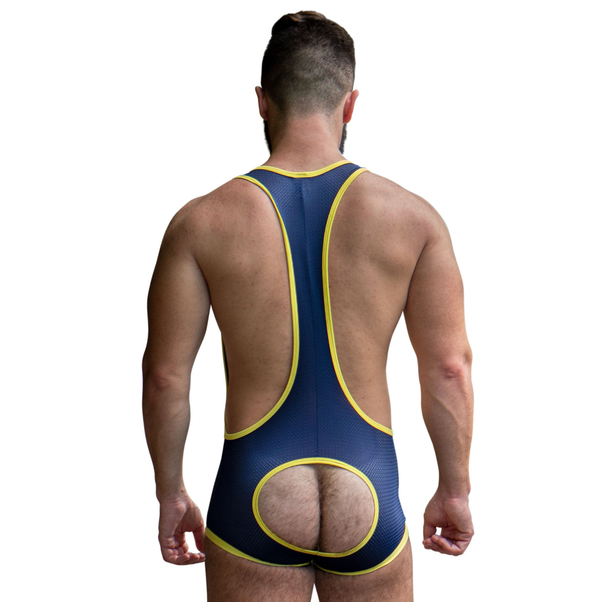 Mesh Singlet - Navy/Yellow - Assless