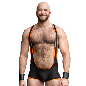 Mesh Singlet - Black/Orange - Assless