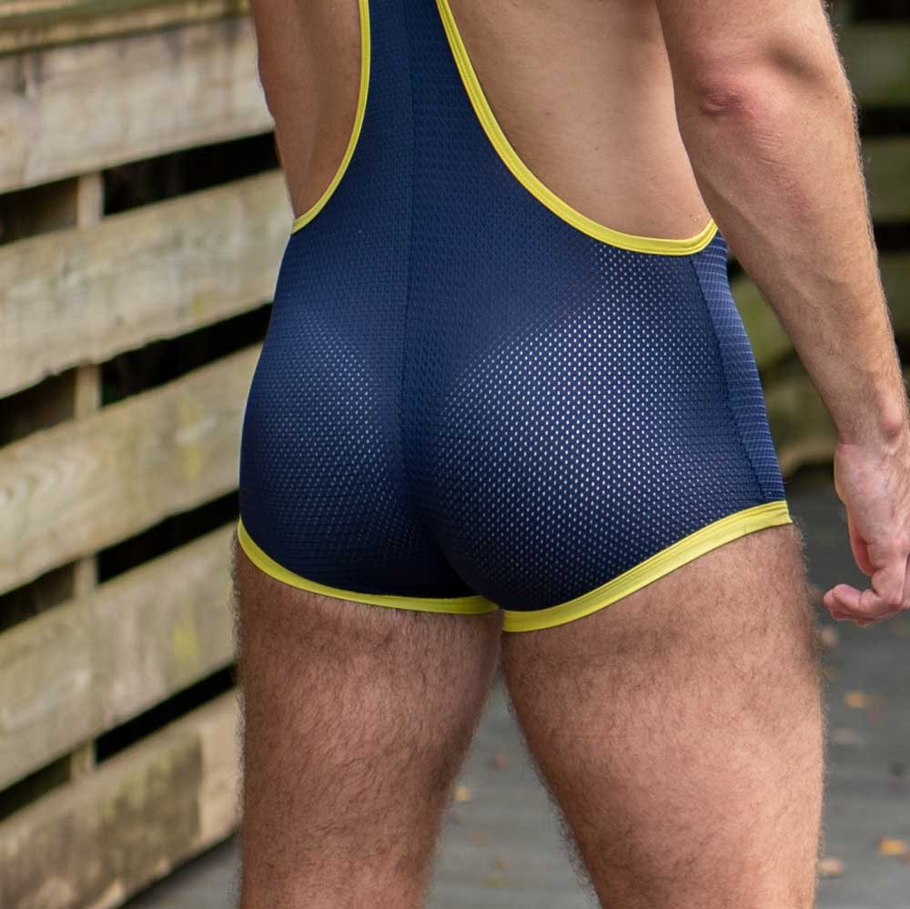 Mesh Singlet - Navy/Yellow