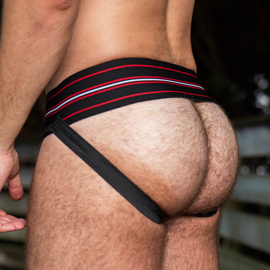 Gruff Pup Quarterback Jock - Black - Striped