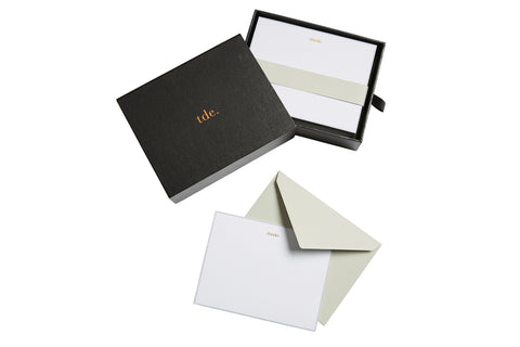 DOVE GREY LEATHER CORRESPONDENCE CARDS