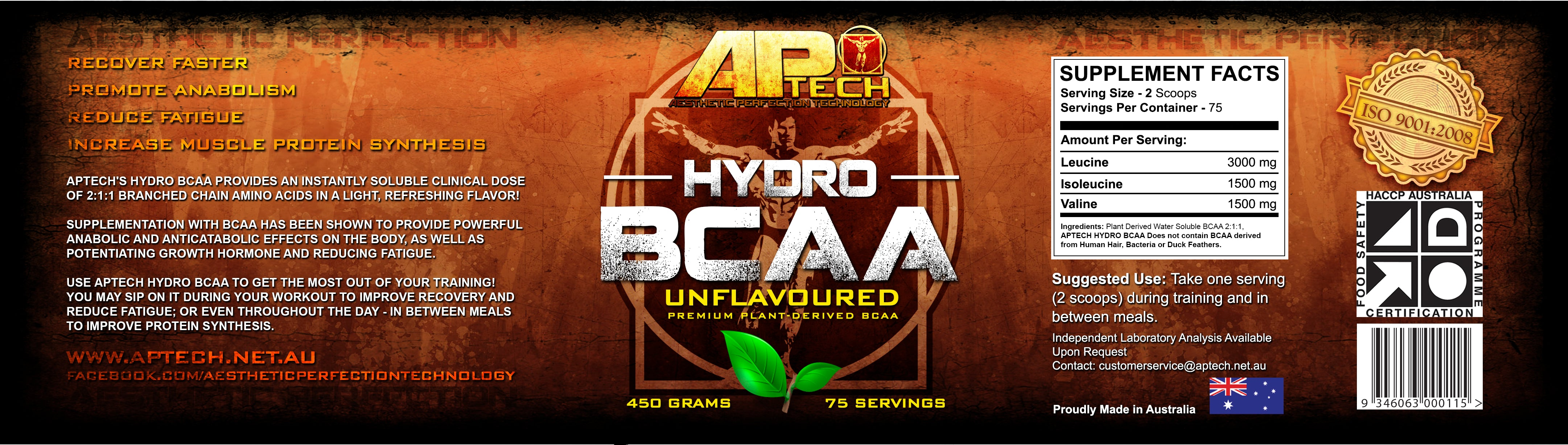 APTech HYDRO BCAA Product Label