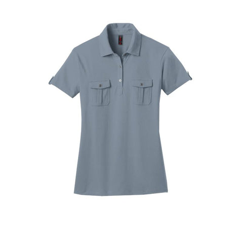 District Made  Ladies Jersey Double Pocket Polo  DM433