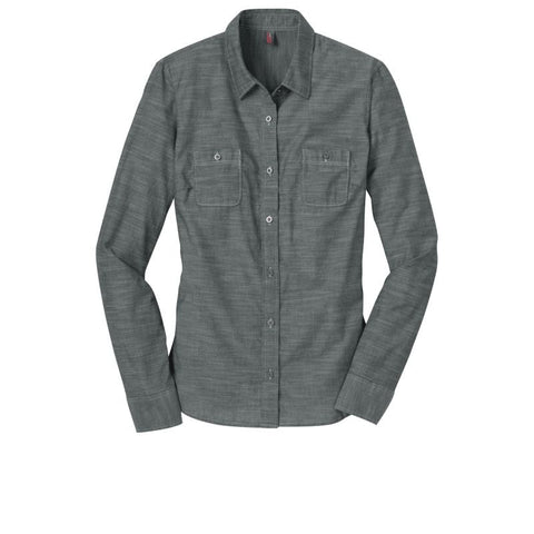 District Made  Ladies Long Sleeve Washed Woven Shirt  DM4800