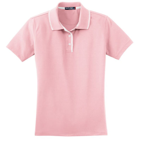 Sport Tek  Ladies Dri Mesh Polo with Tipped Collar and Piping  L467