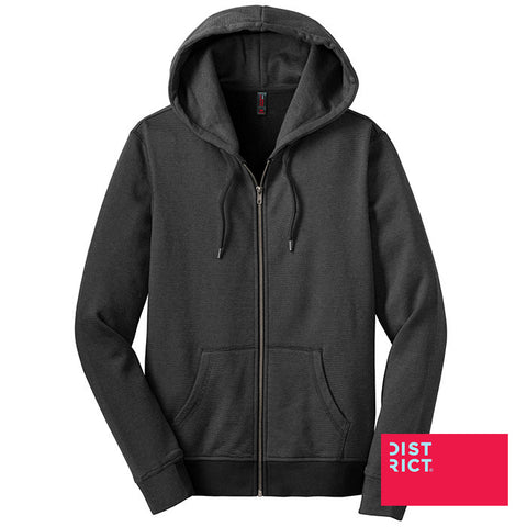 District Made Ladies Mini Stripe Full-Zip Hoodie DM490