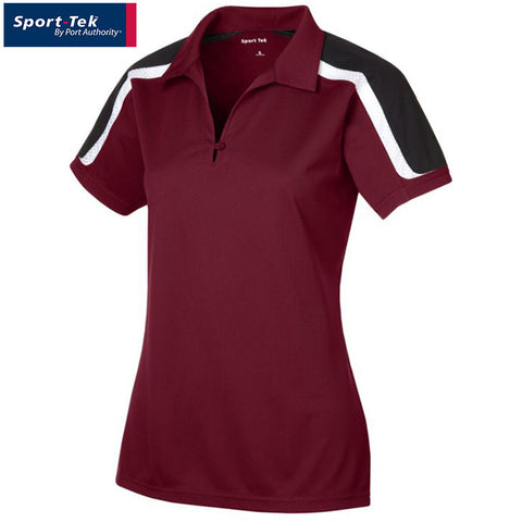 Sport Tek Ladies Tricolor Shoulder Micropique Sport Wick Polo  LST658