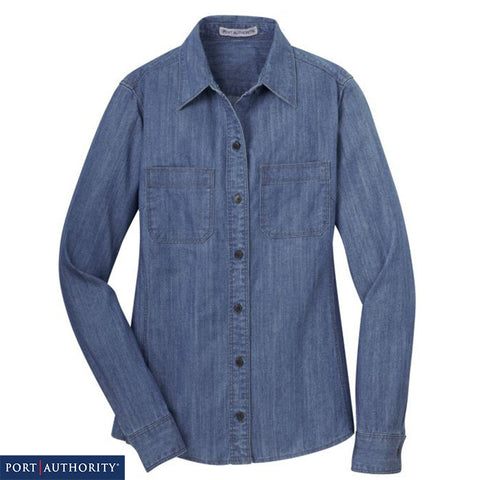 Port Authority Ladies Patch Pockets Denim Shirt  L652