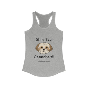 Women's Racerback Tank Top – Shih Tzu – Gesundheit – Black Text - Miss Booger's Pet Sitting & Supplies