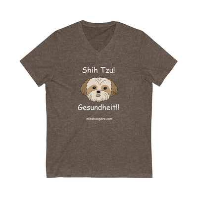 Unisex V-Neck T Shirt - Shih Tzu – Gesundheit - Miss Booger's Pet Sitting & Supplies