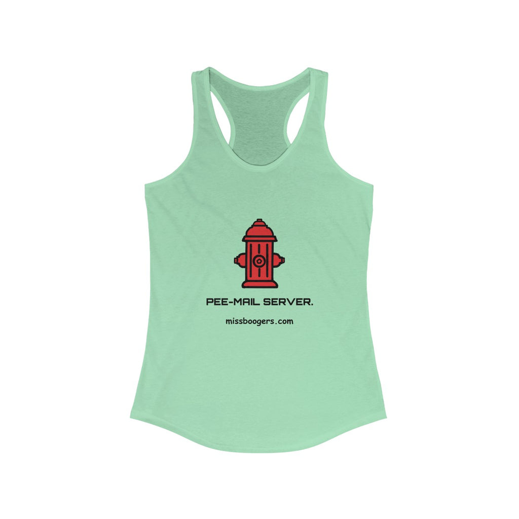 Women's Ideal Racerback Tank –'Pee-mail server' Hydrant - Miss Booger's Pet Sitting & Supplies