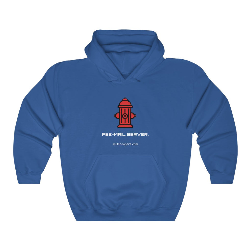 Unisex Hooded Sweatshirt –'Pee-mail server' Hydrant - Miss Booger's Pet Sitting & Supplies
