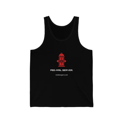 Unisex Tank Top – 'Pee-mail server' Hydrant - Miss Booger's Pet Sitting & Supplies