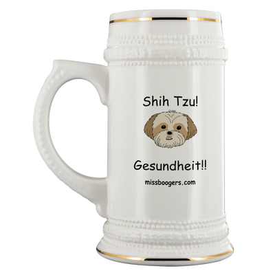 Beverage Stein – Shih Tzu – Gesundheit – 22 oz - Miss Booger's Pet Sitting & Supplies