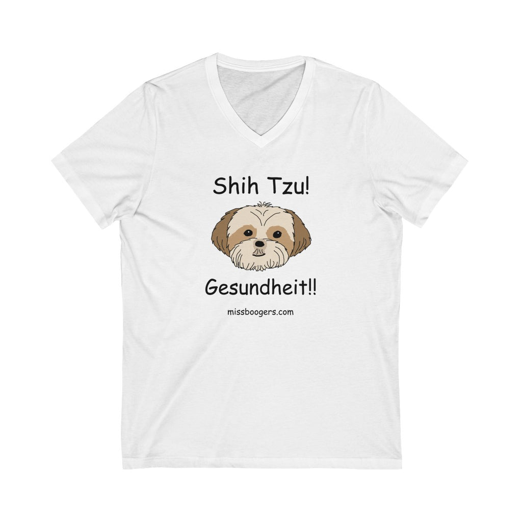 Unisex Jersey V-Neck Tee - Shih Tzu – Gesundheit - Miss Booger's Pet Sitting & Supplies
