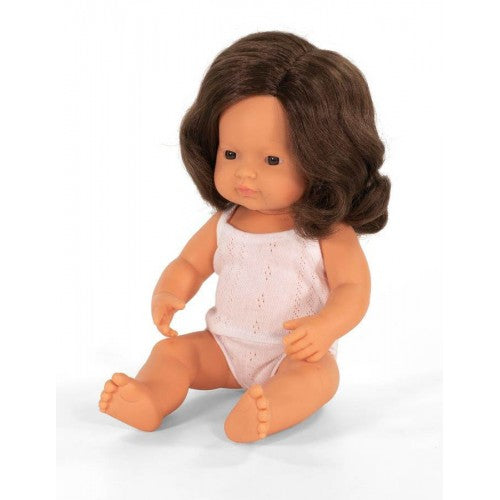 MINILAND Anatomically Correct Baby Doll Caucasian Girl - Brunette Hair 38cm