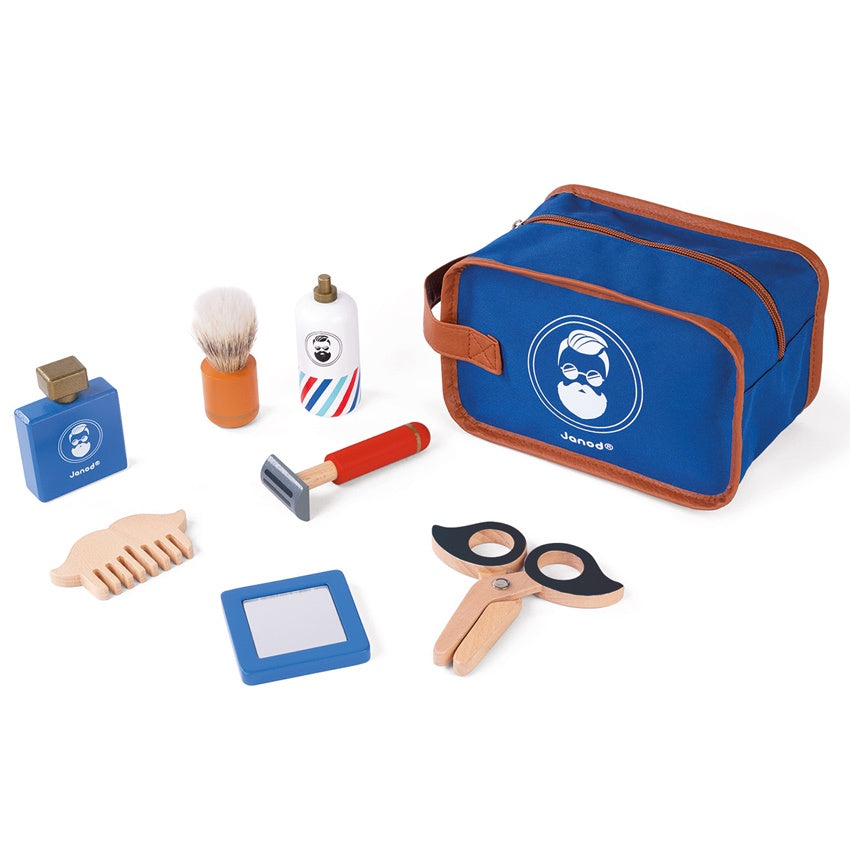 JANOD Shaving Bag with accessories - woode