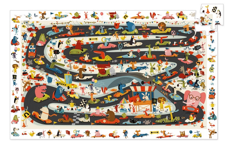 DJECO Puzzle Observation Car Rally - 54 piece