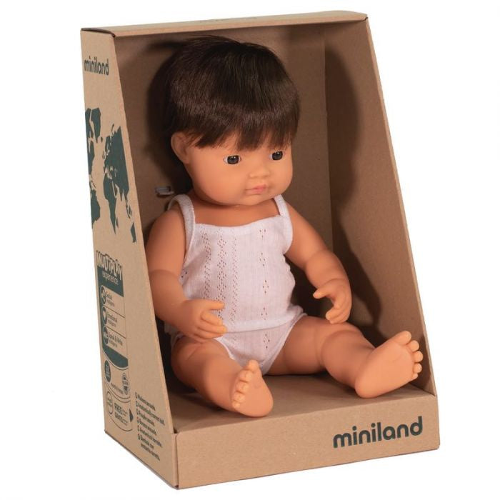 MINILAND Anatomically Correct Baby Doll Caucasian Boy - Brunette Hair 38cm