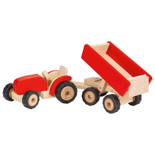 GOKI Nature - Tractor with Trailer Large - Red -  Wooden