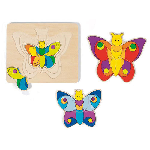 GOKI 4 Layer Puzzle Butterfly-wooden