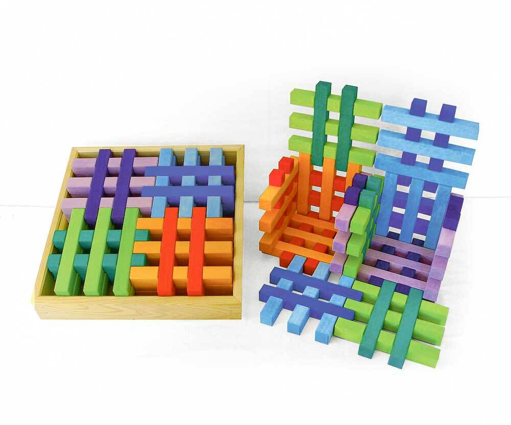 Bauspiel Grid Blocks - Coloured - 12 Piece